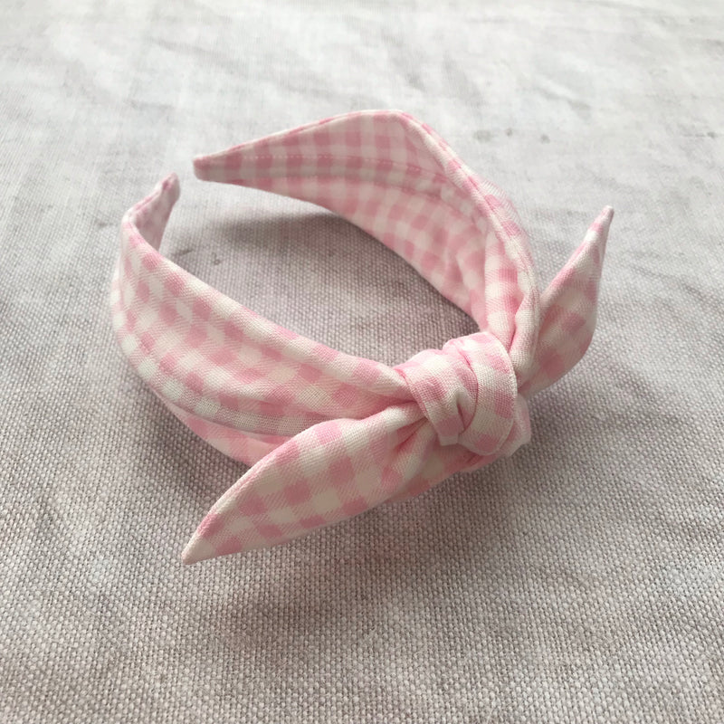 Gingham Cotton Bow Headband