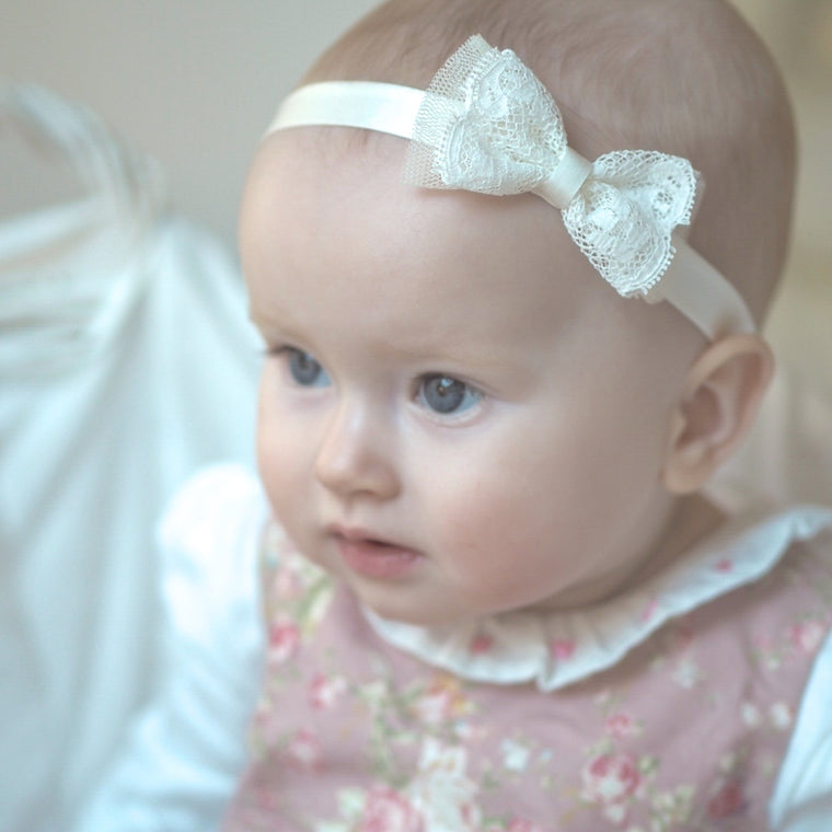 Amber Silk Baby Bow Christening Headband
