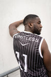 Limitless Basketball Jersey Black with white pin stripe