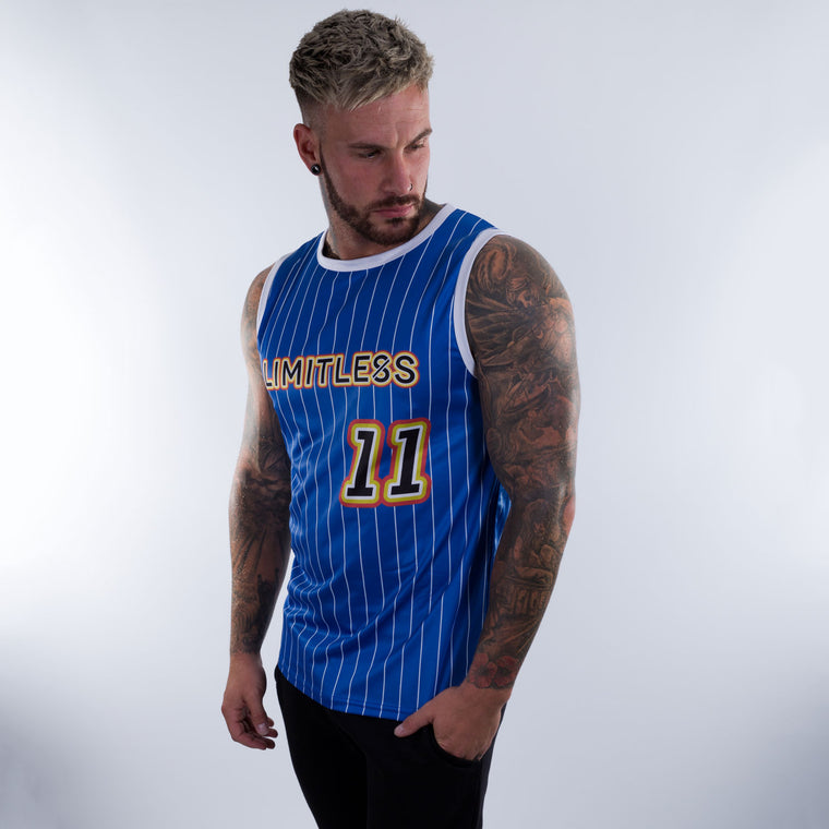 Limitless Basketball Jersey Royal blue with white pin stripe