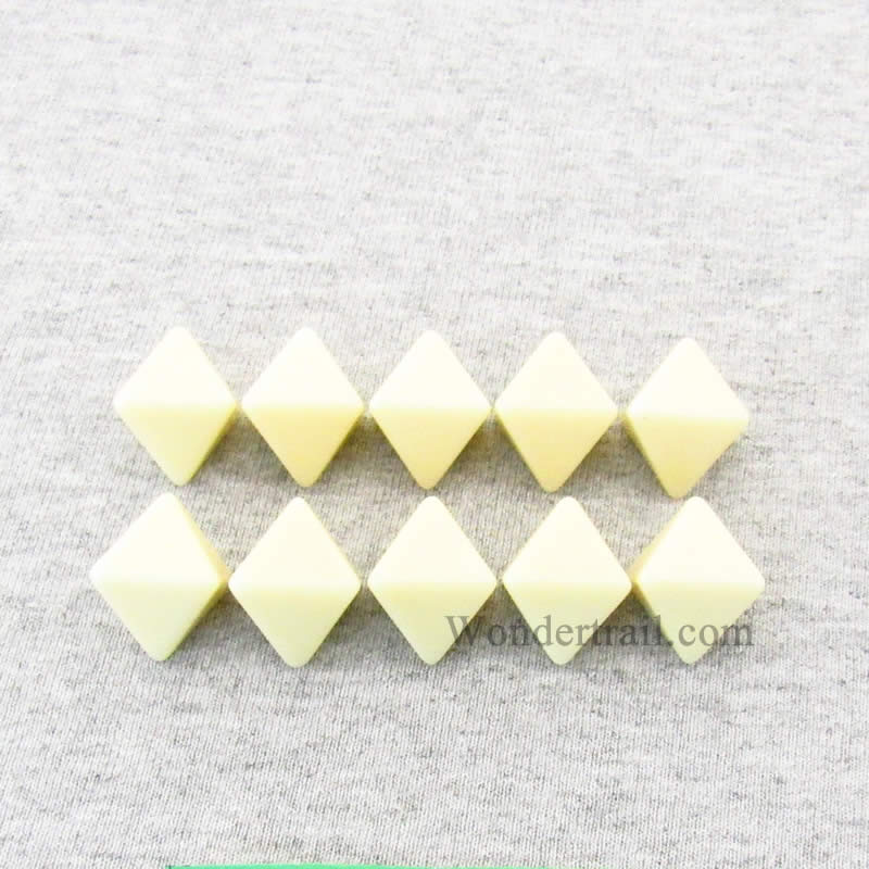 Ivory Blank Dice with No Pips D8 16mm (5/8in) Pack of 10
