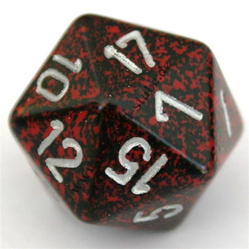 Dado 34mm D20 Speckled Silver Volcano
