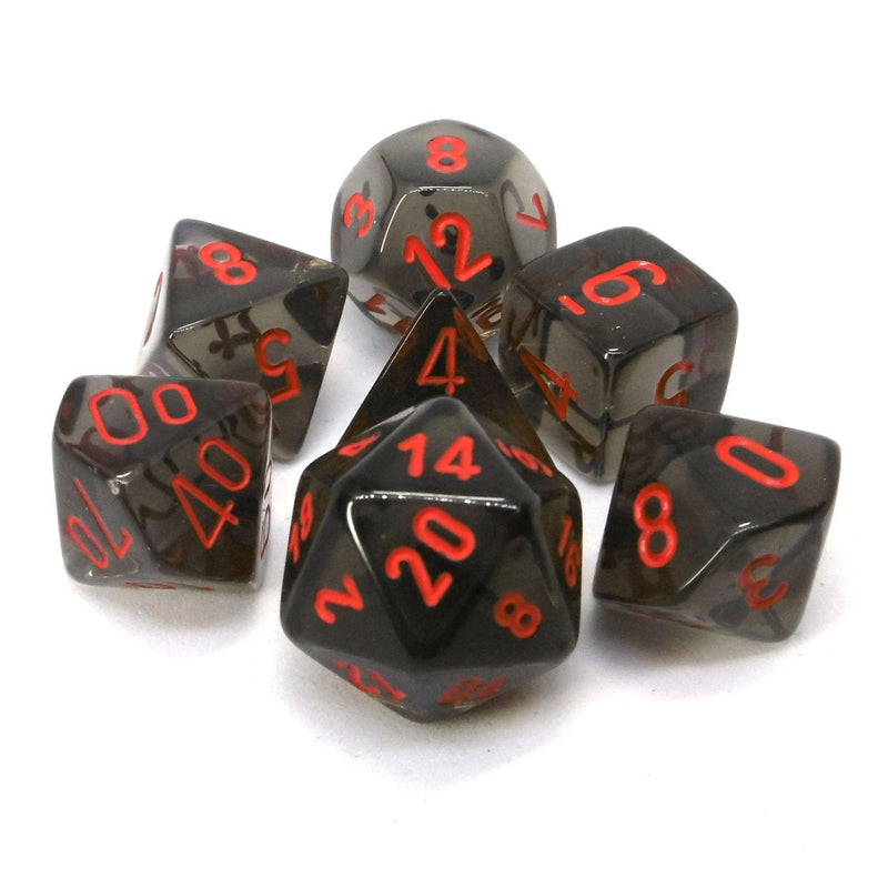 POLYHEDRAL 7-DIE DICE SET TRANSLUCENT SMOKE/RED