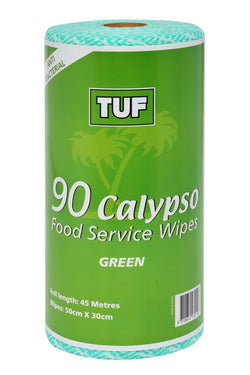 CALYPSO FOOD SERVICE WIPES 90 SHEETS PER ROLL GREEN