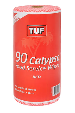 CALYPSO FOOD SERVICE WIPES 90 SHEETS PER ROLL RED
