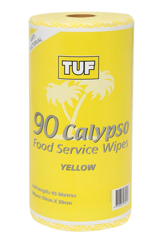 CALYPSO FOOD SERVICE WIPES 90 SHEETS PER ROLL YELLOW