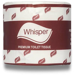 WHISPER TOILET PAPER 600 SHEET PREMIUM. CARTON 48 ROLLS