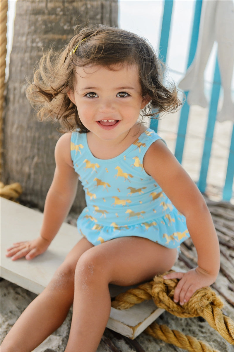 Baby girls horse print swimsuit by snapper rock