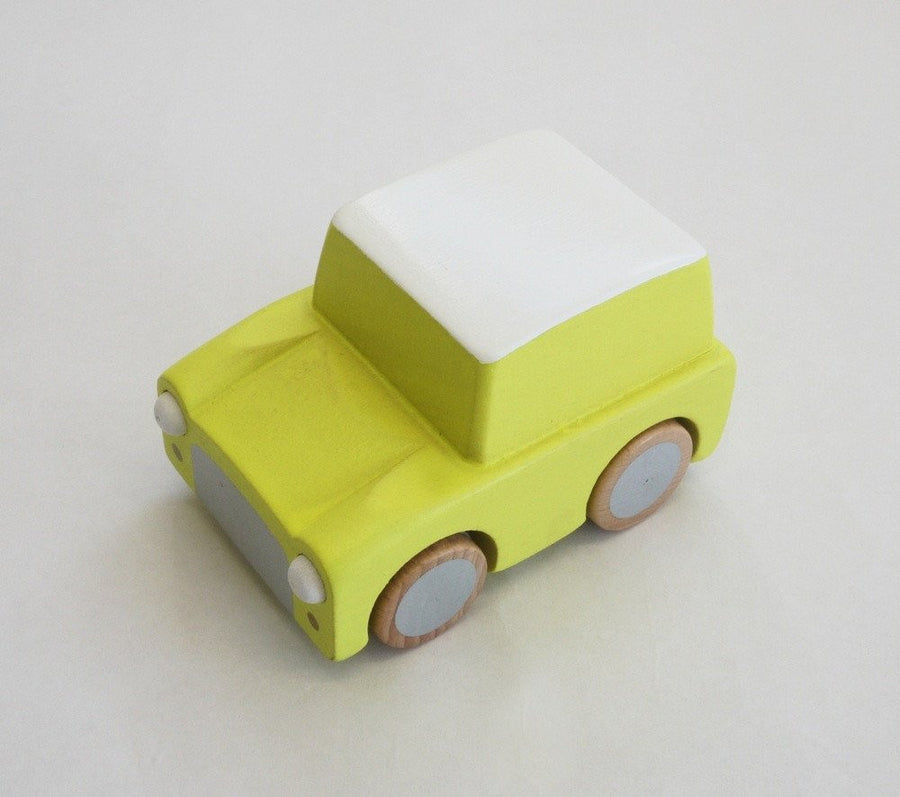 Yellow wooden friction powered toy car by Kukkia