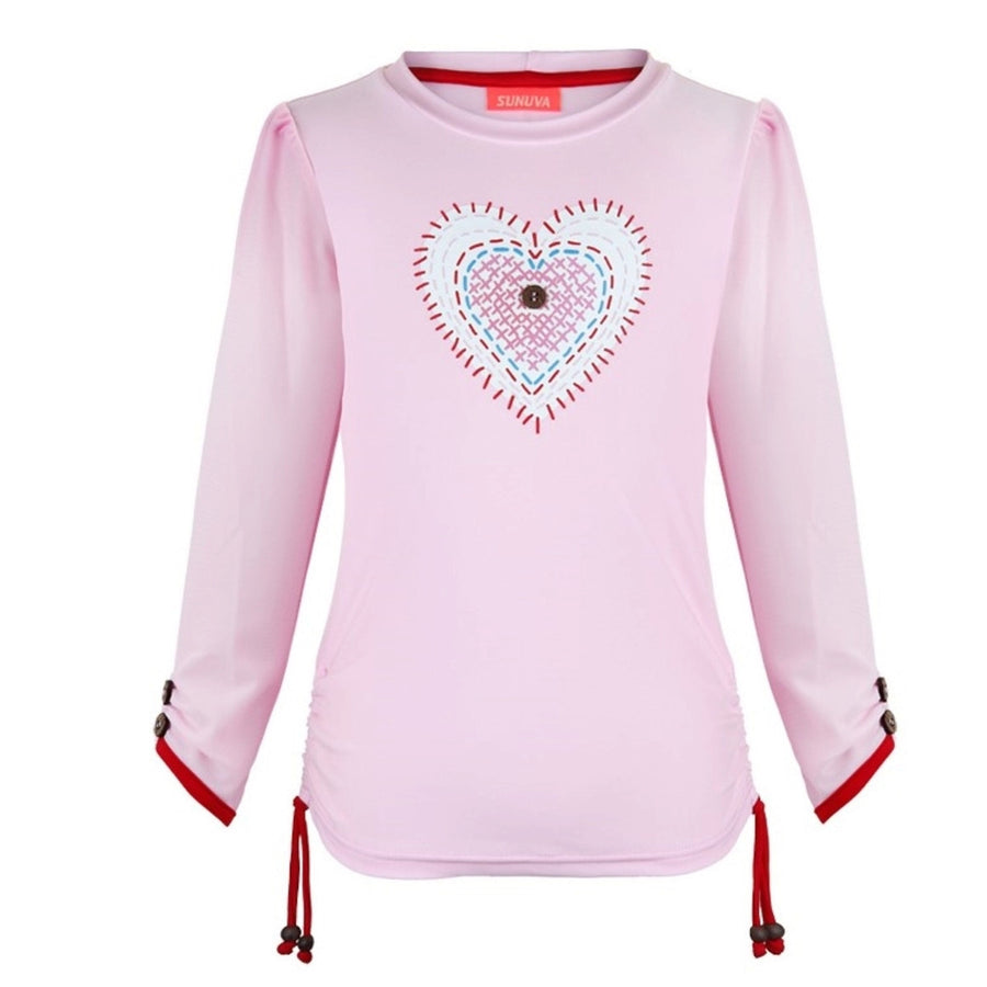 Heart pink girls rash vest by Sunuva