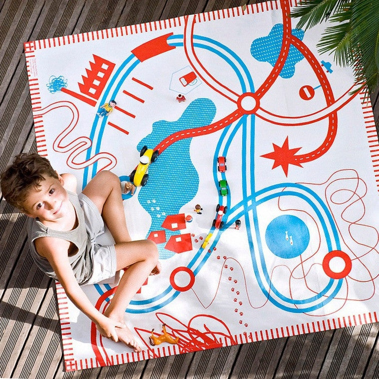 Organic Cotton Play Mat in Roads Design by Deuz