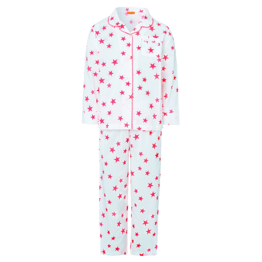 Girls White cotton pyjamas set with pink stars by sunuva