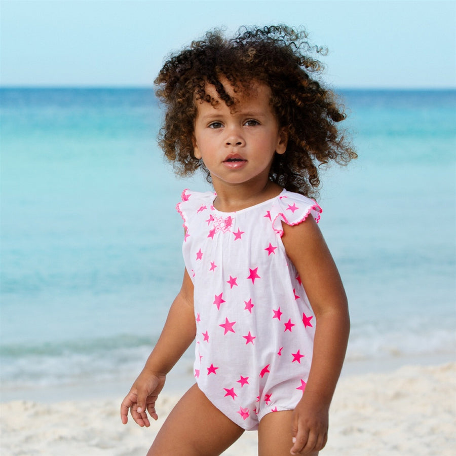 Baby beach romper cotton white with pink stars by sunuva