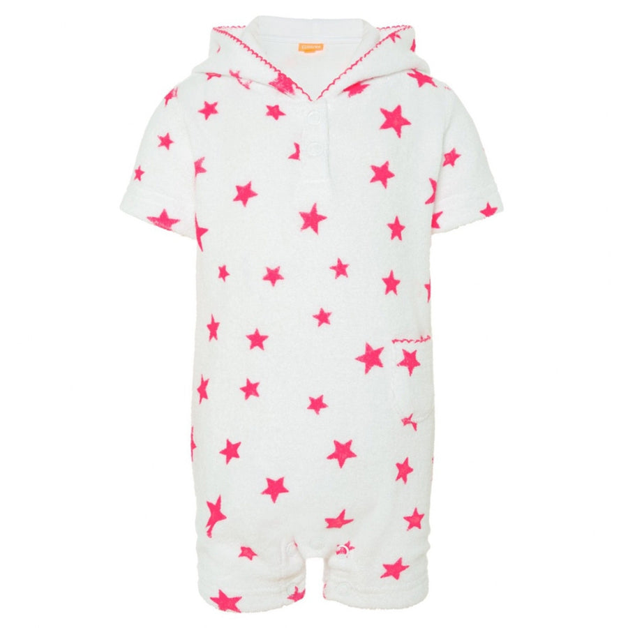 Baby towelling beach onesie with pink stars