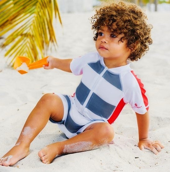 Graphite Stripe Sunsuit,Sunsuit,SNAPPER ROCK - Snowballs and Sandcastles