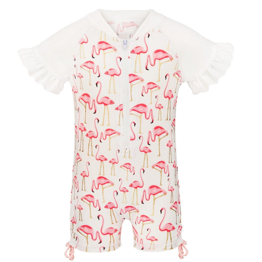 Flamingo Baby Girls UV Sunsuit by Snapper ROCk