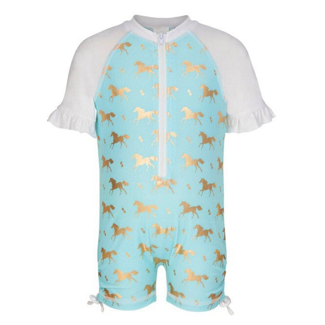 Gold horse print girls sunsuit by snapper rock