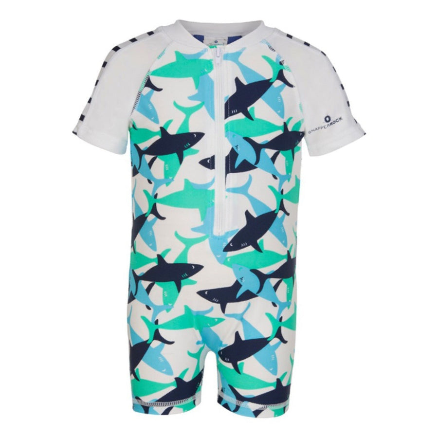 Baby Boys UV Sunsuit Shark | by Snapper Rock.