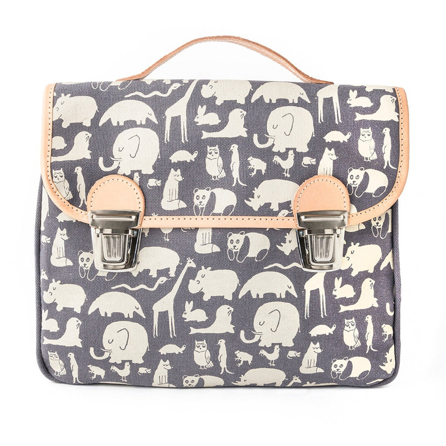 Fanny & Alexander Animal Print Children's Satchel in Blue with leather trim