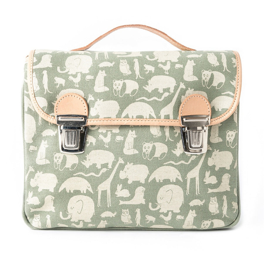 Fanny & Alexander Animal Print Children's Satchel in Green with leather trim