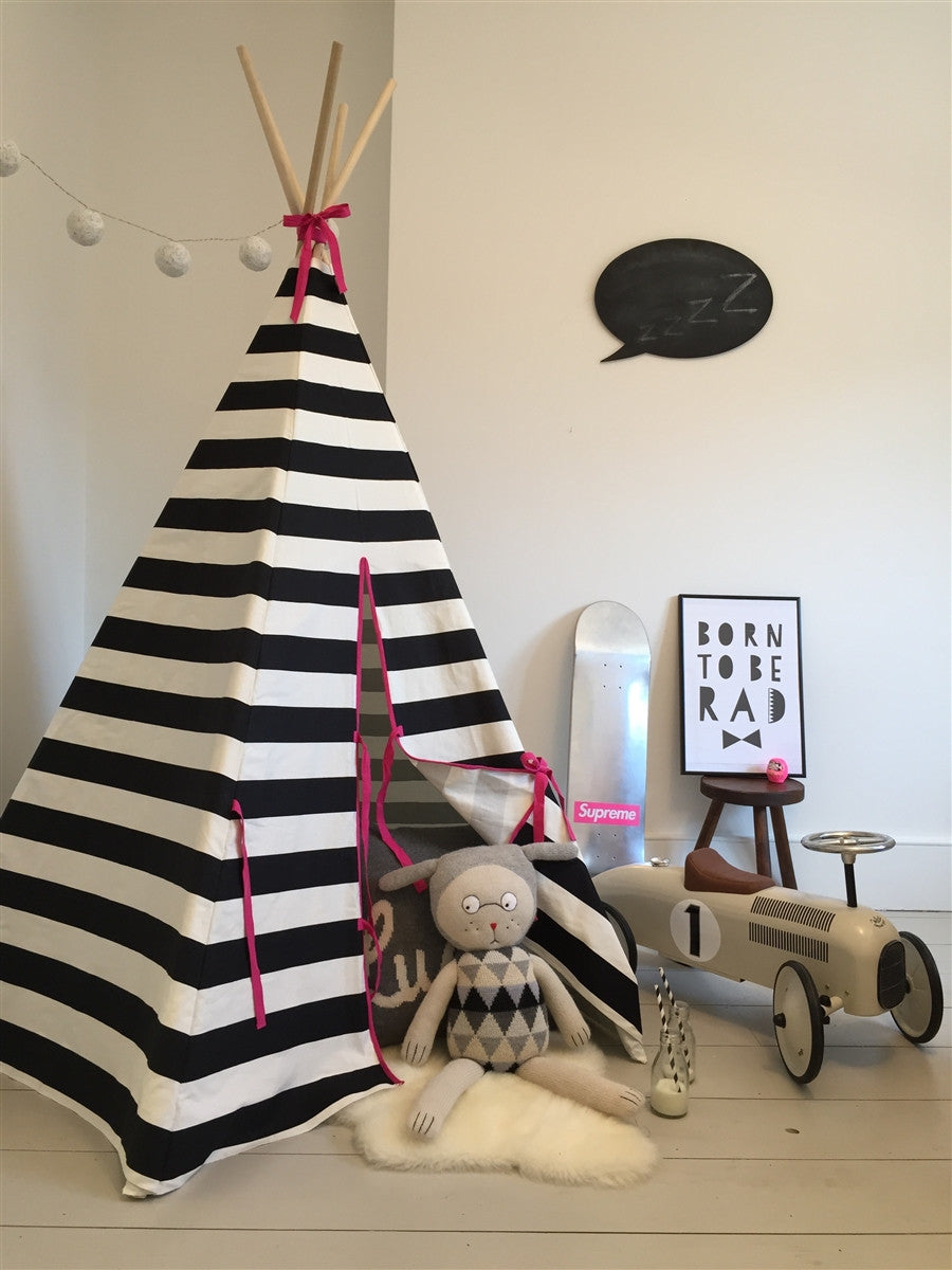 Teepee Stripe with Pink Trim by Wildfire Teepees | Shop Now