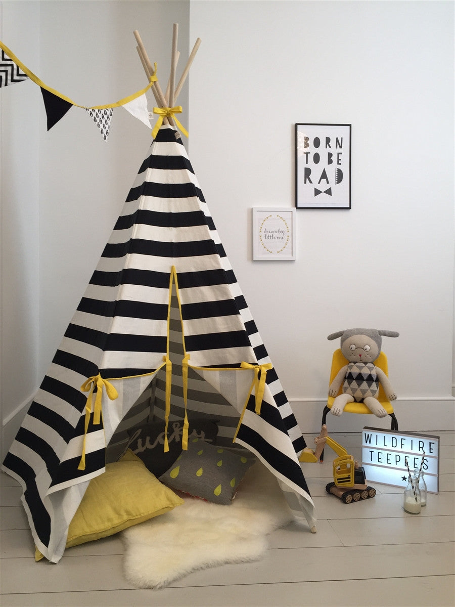 Teepee Stripe with Yellow Trim by Wildfire Teepees | Shop Now