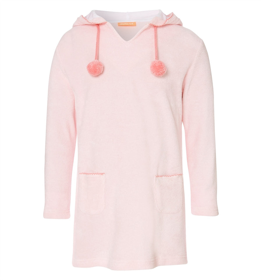 Girls pink hooded towelling beach dress