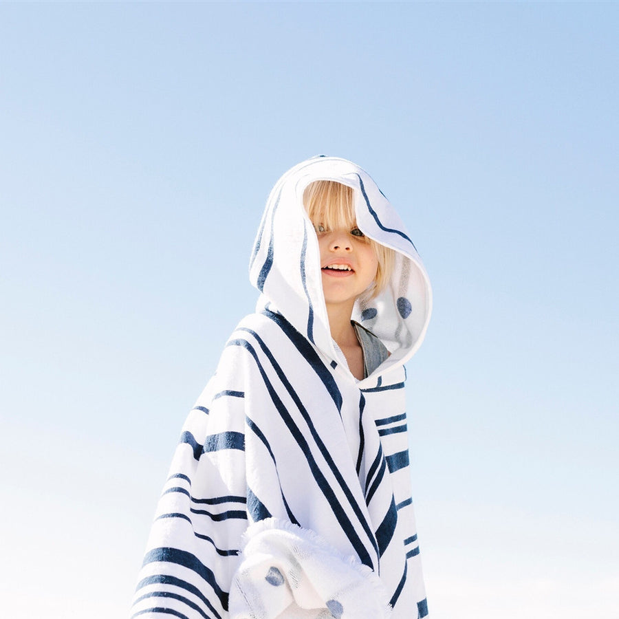 Towelling children's poncho with nautical stripe | The Beach People