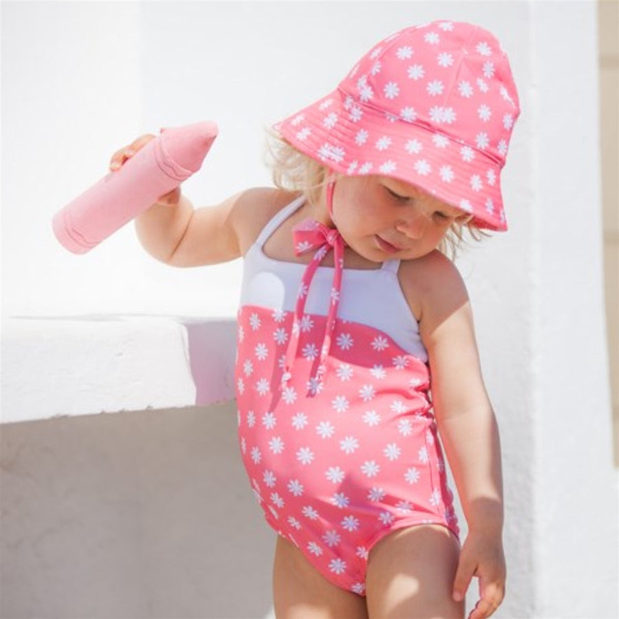 Blossom pink girls swimsuit by Petit Crabe