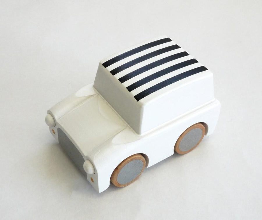 White Wooden Toy Car,Wooden Car,Kukkia - Snowballs and Sandcastles