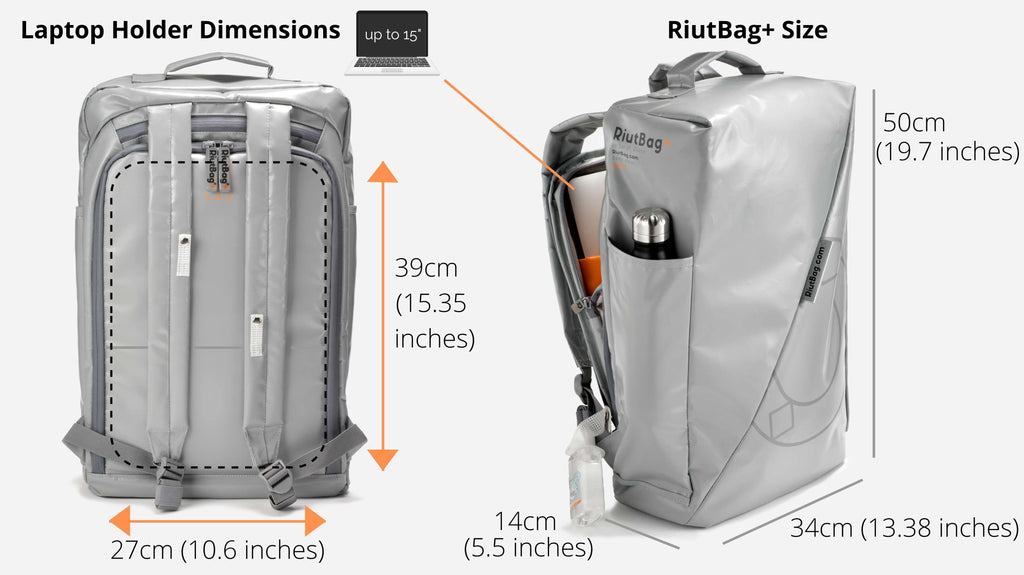 15 inch backpack laptop holder dimensions RiutBag+ RiutBag grey tarpaulin bag 2021