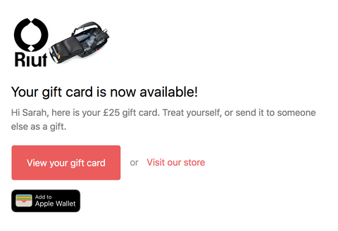 Example email for RiutBag gift card