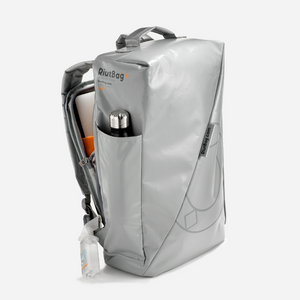 Grey gray laptop backpack tarpaulin secure anti theft bottle holder futuristic modern unique