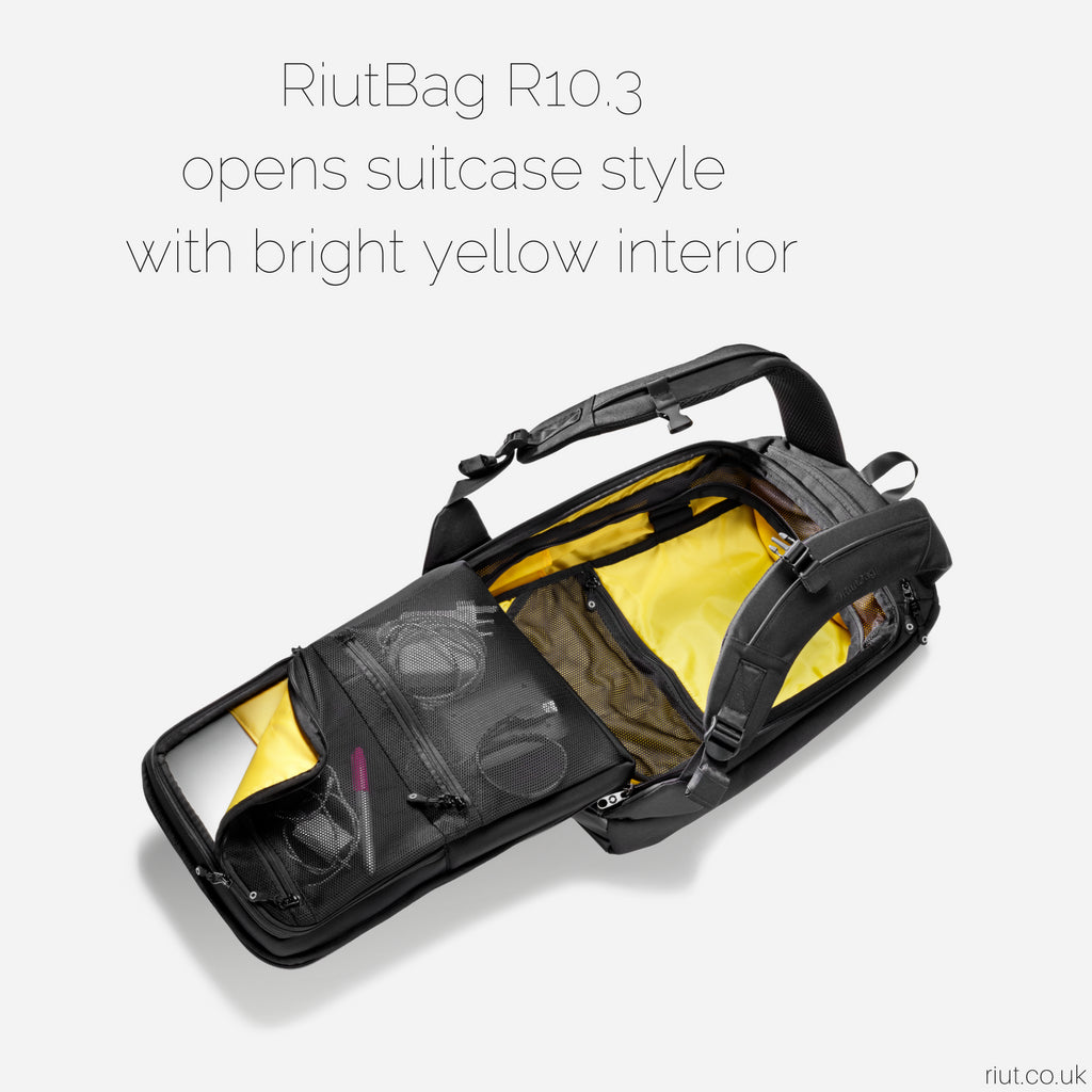"RiutBag R10.3 | Secure black backpack for 15"" laptop 