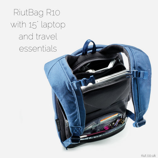 RiutBag anti theft backpack opens backwards. simple design for safe city travel. secure laptop backpack navy blue 2017 buy online at riut.co.uk