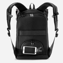 Load image into Gallery viewer, phone holder backpack secure zips hidden against back riutbag keys
