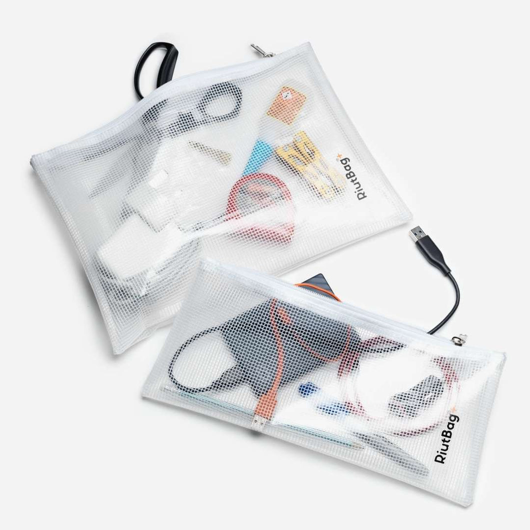 set of 2 PVC charger cable organiser bags zipped clear white grid high quality RiutBag+ FREE SHIPPING UK