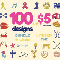 100 Embroidery files Bundle - rhinestone templates