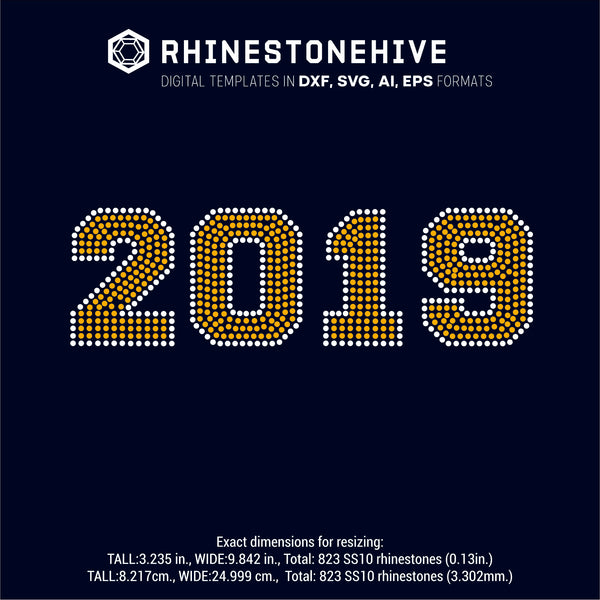 2019 year rhinestone template digital download, ai, svg, eps, png, dxf - rhinestone templates
