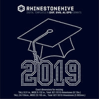 2019 Graduate, hat rhinestone template digital download, ai, svg, eps, png, dxf - rhinestone templates