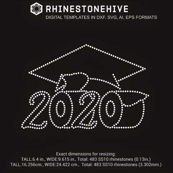 2020 Graduate with Hat and toilet paper rolls rhinestone template digital download, ai, svg, eps, png, dxf