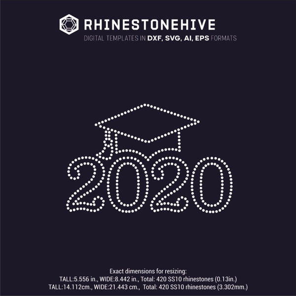 2020 grad hat outline rhinestone template digital download, ai, svg, eps, png, dxf - rhinestone templates