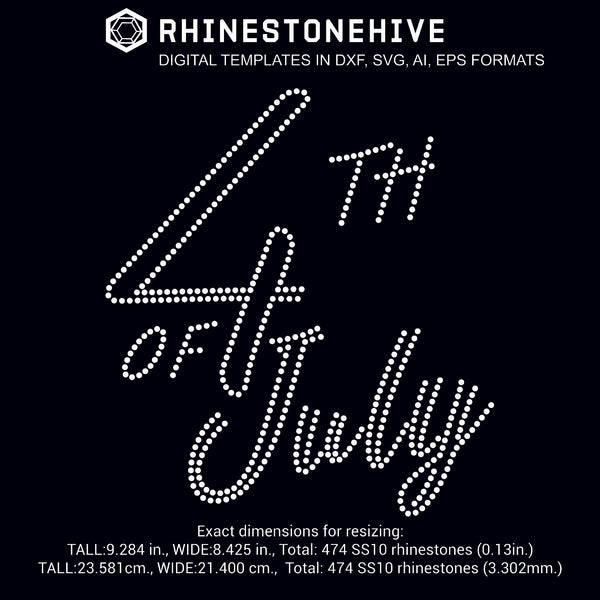 4th of July rhinestone template digital download, ai, svg, eps, png, dxf - rhinestone templates
