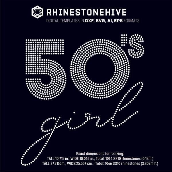 50s Girl rhinestone template digital download, ai, svg, eps, png, dxf - rhinestone templates
