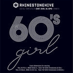 60s Girl rhinestone template digital download, ai, svg, eps, png, dxf - rhinestone templates