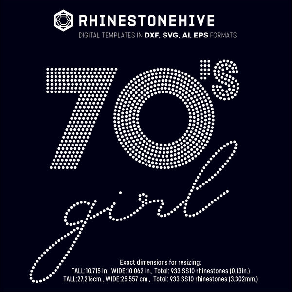 70s Girl rhinestone template digital download, ai, svg, eps, png, dxf - rhinestone templates