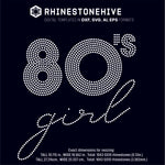 80s Girl rhinestone template digital download, ai, svg, eps, png, dxf - rhinestone templates