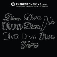 Diva 9 designs rhinestone templates svg, eps, png, dxf