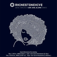 Afro woman rhinestone template digital download, ai, svg, eps, png, dxf - rhinestone templates