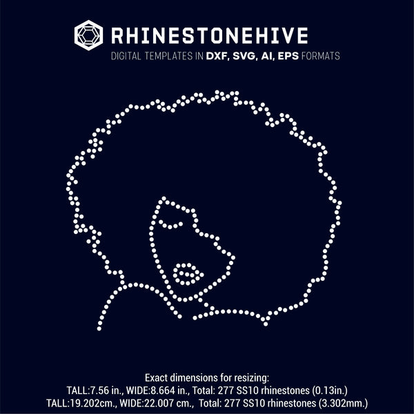 Afro woman outline rhinestone template digital download, ai, svg, eps, png, dxf - rhinestone templates